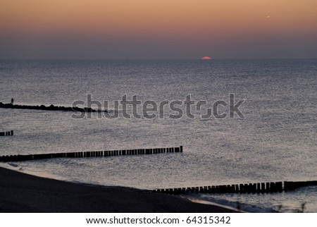 Beach of Ahrenshoop, Germany in the evening
