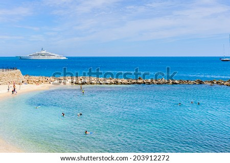 Beach of Antibes, Cote d'Azur, France. Antibes was founded as a 5th-century BC Greek colony and was called Antipolis