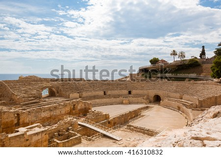 beach of costa daurada, catalonia, spain - stock photo