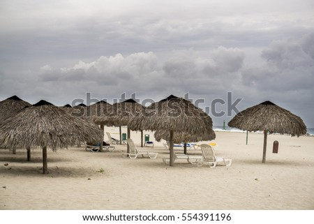 beach of Cuba with a view of the umbrellas