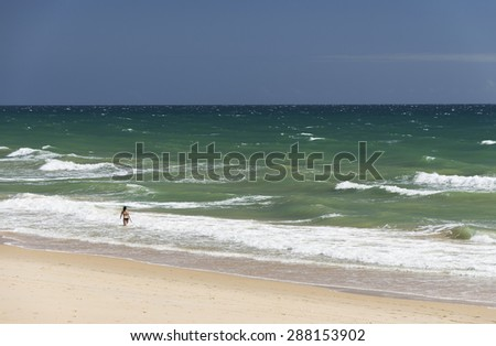 Beach of Faro, Algarve, Portugal - stock photo