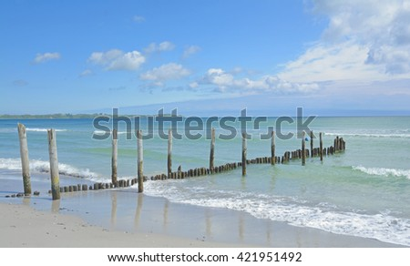 Beach of Juliusruh on Ruegen Island at baltic Sea in Mecklenburg western Pomerania;Germany - stock photo