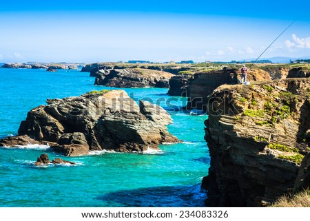 Beach of Las Catedrales or As Catedrais, Ribadeo, Galicia, Spain - stock photo