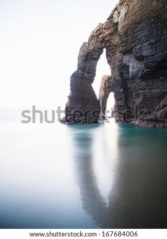 Beach of Las Catedrales or As Catedrais, Ribadeo, Galicia, Spain. Color version. - stock photo