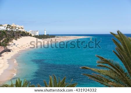Beach of Morro Jable, Canary Island Fuerteventura, Spain - stock photo