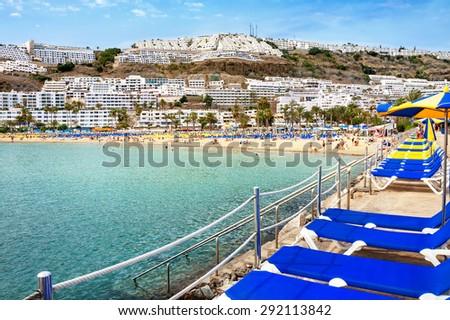 Beach of Puerto Rico. Gran Canaria. Canary Islands - stock photo