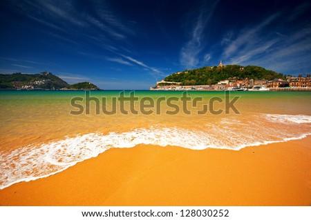 Beach of San Sebastian, Spain - stock photo