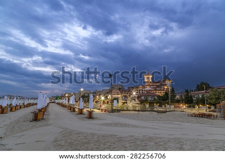 Beach of Sunny beach in summer.Sunny beach a resort on the Bulgarian Black Sea coast. - stock photo