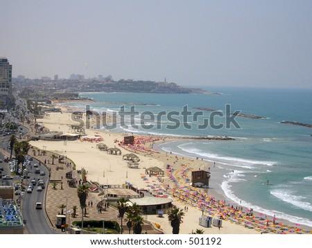 Beach of Tel aviv, Israel - stock photo