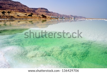 Beach of the Dead Sea. Israel