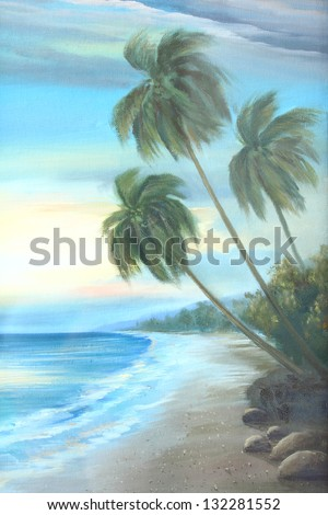 beach : oil color painting - stock photo