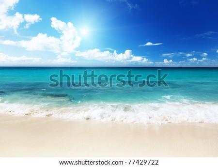 beach on Catalina island Dominican republic - stock photo