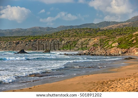 Beach on coast of Cyprus National park Akamas peninsula