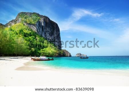 beach on poda island in Thailand - stock photo