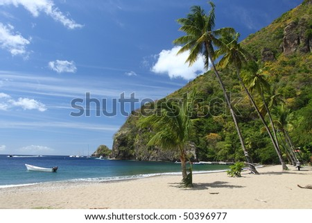 Beach on St. Lucia in the Caribbean - stock photo