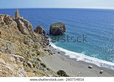 beach on the tropical coast of Granada - stock photo