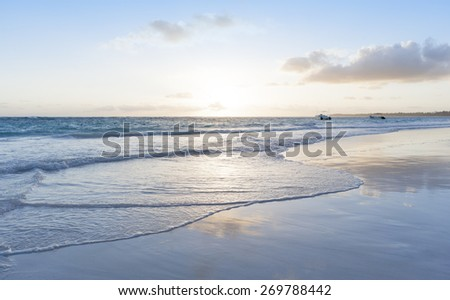 Beach on the tropical island. Clear blue water.  Beautiful vacation spot, treatment and aquatics. - stock photo