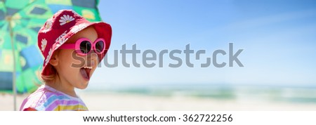 beach panoramic child lifestyle summer vacation - stock photo
