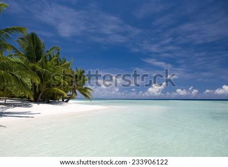 Beach paradise in Maldives, Kuramathi island - stock photo