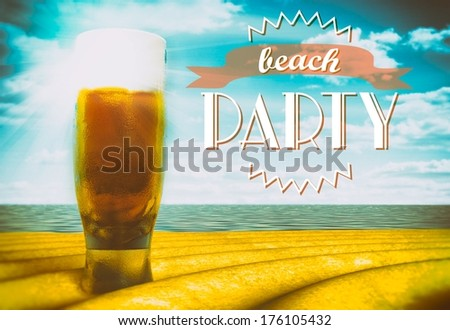 Beach party sign with beer glass on sand - stock photo