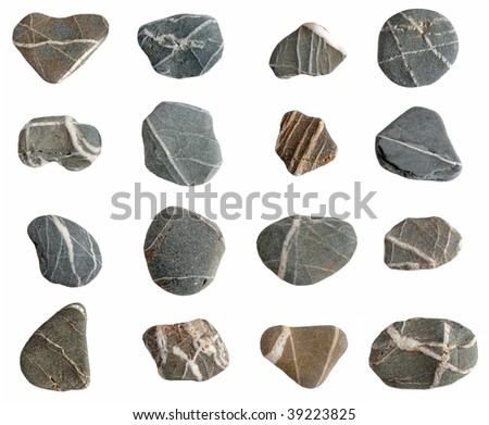 Beach pebbles collection isolated on a white background.