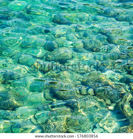 beach perfect white sand turquoise water - stock photo