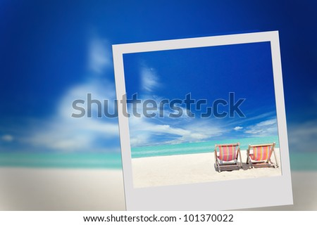 Beach picture in frame - stock photo