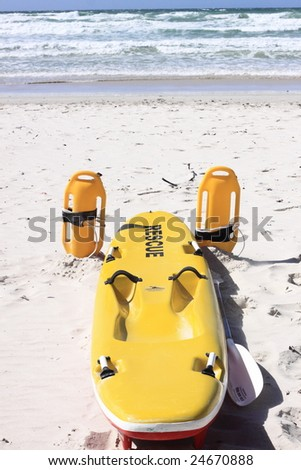 Beach rescue equipment on the ready - stock photo