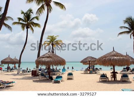 Beach Resort in Aruba - stock photo
