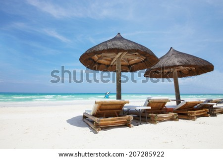 Beach resort on Boracay, Philippines in sunny day - stock photo