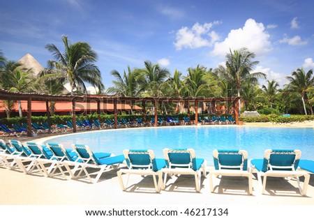 Beach resort swimming pool - stock photo