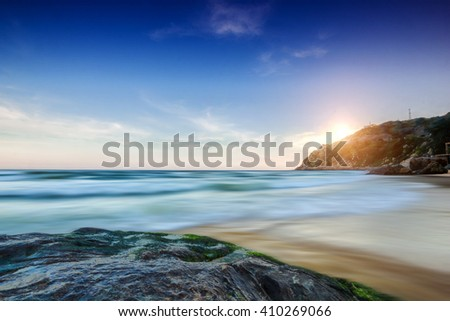 Beach rock natural scenery