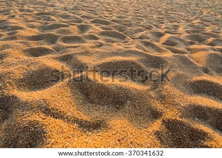 Beach sand with golden light on surface sand - stock photo