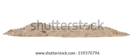 Beach sand with shells isolated over white background - stock photo