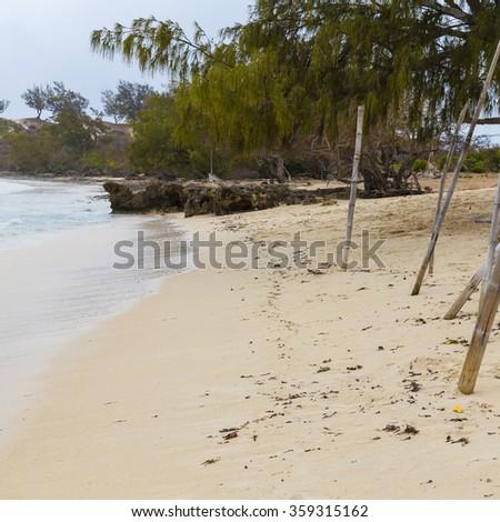 Beach sandy coastal landscape on a tropical island in Madagascar, Africa. - stock photo