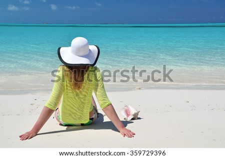 Beach scene, Great Exuma, Bahamas - stock photo