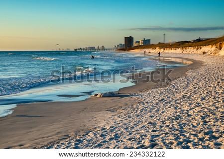 Beach scene in Panama City Beach Florida at sunset - stock photo