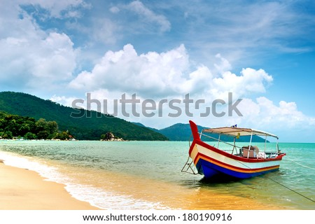 Beach Scene in Penang, Malaysia - stock photo
