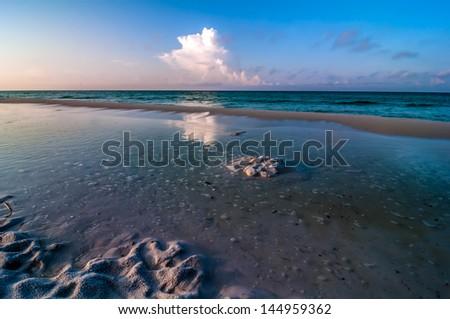beach scenes at okaloosa island fishing and surfing pier - stock photo