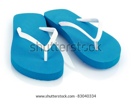 beach shoes isolated on white - stock photo