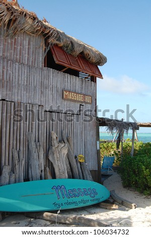 Beach side outdoor massage hut - stock photo