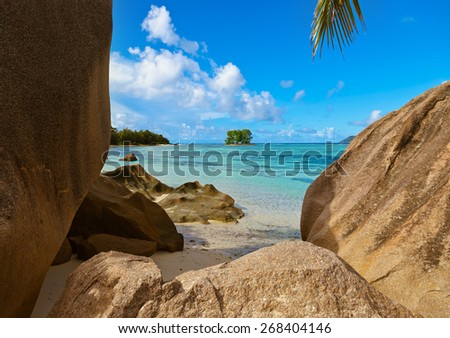 Beach Source d'Argent at Seychelles - nature background - stock photo