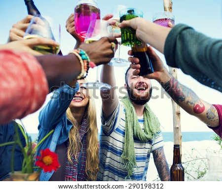 Beach Summer People Party Celebration Concept - stock photo
