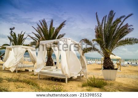 Beach tent in summer - stock photo