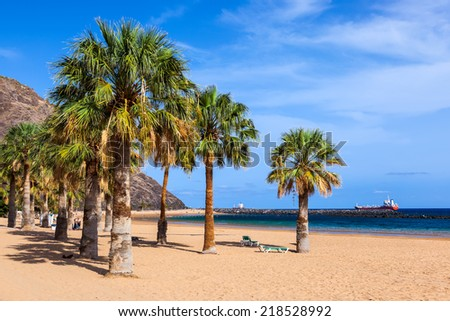 Beach Teresitas in Tenerife - Canary Islands Spain - stock photo