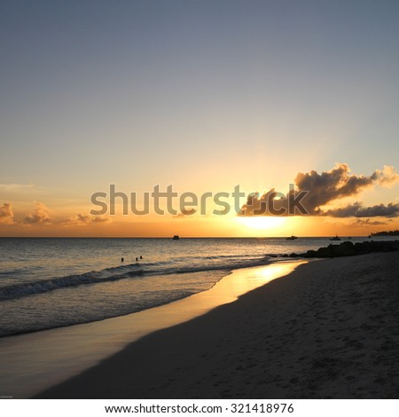 Beach therapy - Vacation background. Amazing tropical beach of Barbados. - stock photo