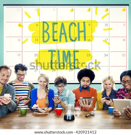 Beach Time Coast Ocean Sea Shore Vacation Concept - stock photo