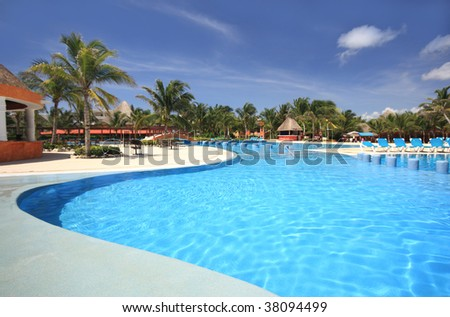 Beach tourist resort swimming pool. Travel & tourism collection. - stock photo