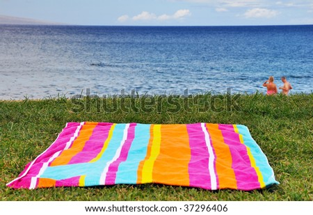 beach towel on a grassy coast - stock photo