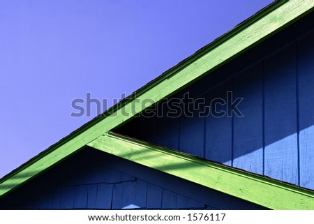 Beach town roof lines. - stock photo